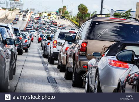 Traffic Search Miami Miami Florida Interstate I 95 Highway Traffic Stopped Slowed Jam Stock Photo Royalty