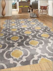 Grey And Yellow Area Rug Gray And Yellow Rug Moroccan Trellis Contemporary Modern Unique Carpet 5 3 X 7 3 Ebay