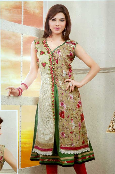 double pattern kurti floral design double layered a line kurti online