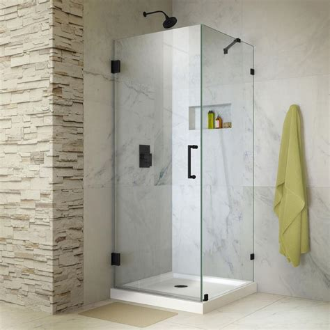 Frameless Shower Doors Hardware Dreamline Unidoor 30 In X 72 In Frameless Hinged Shower Enclosure In Satin Black With