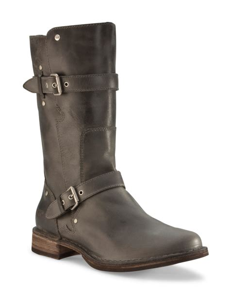 grey ugg boots for ugg gillespie boots in gray grey leather lyst