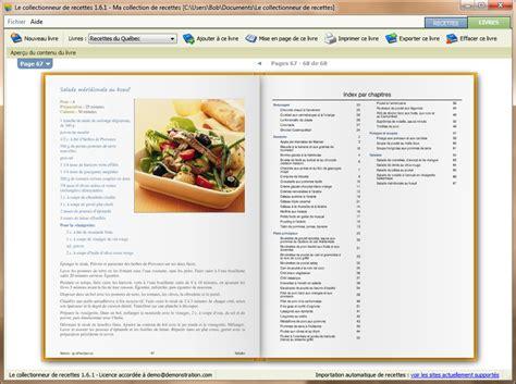livre recette de cuisine le collectionneur de recettes logiciel de recettes et