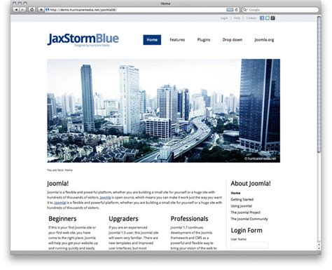 joomla template free 2 5 jaxstorm blue free template for joomla 2 5 white blue