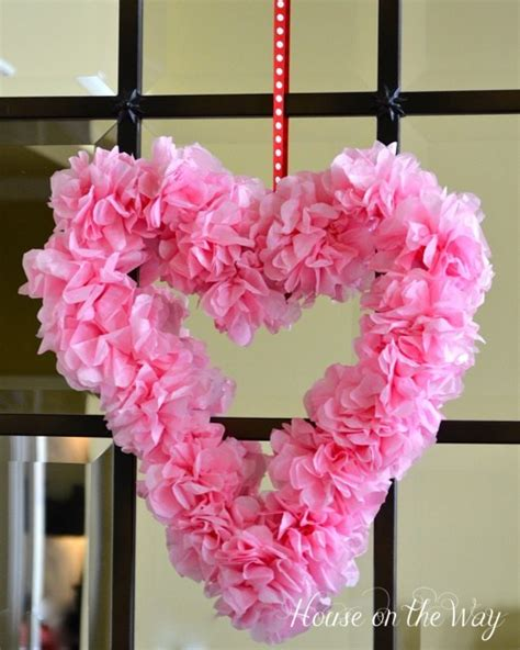 tissue paper flower wreath tutorial 35 easy valentine crafts both kids and adults can enjoy