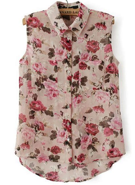 pink lapel sleeveless floral dipped hem blouse abaday