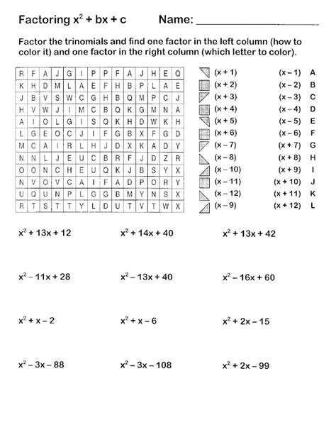 Factor Completely Worksheet Answers by Easy Factoring Search And Shade Algebra