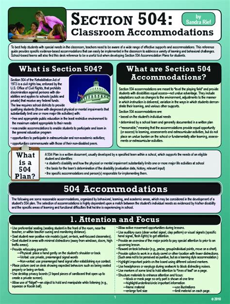 section 504 accommodations section 504 classroom accommodations phlet