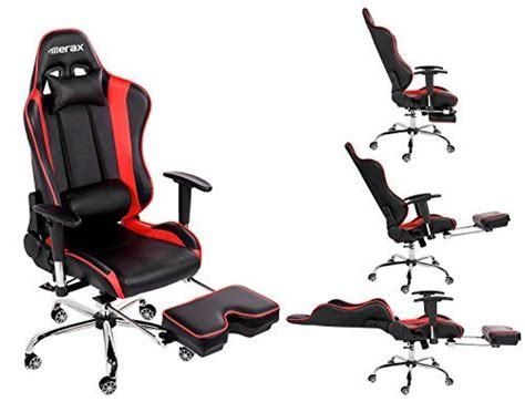 recliner gaming setup merax ergonomic series pu leather office chair racing chair with footrest computer gaming chair