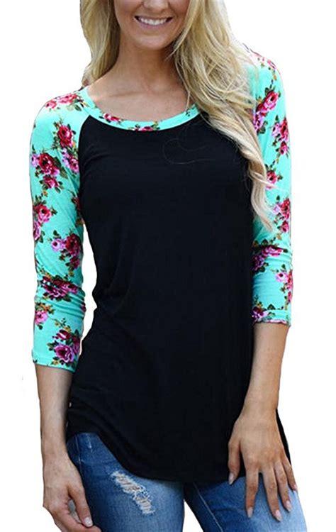 T Shirt 3 4 raglan 3 4 sleeve baseball floral print t shirt