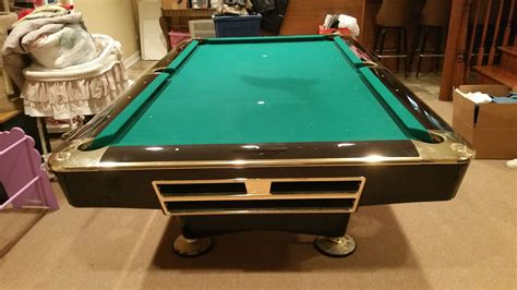 used tables brunswick billiards black gold crown pro 8 pockets sold