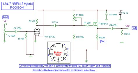 transistor headphone lifier schematic diy 12au7 ecc82 irf612 mosfet hybrid headphone lifier