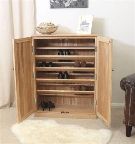 Large Shoe Storage Cabinet Mobel Solid Oak Hallway Furniture Large Shoe Storage Cabinet Rack And Felt Pads Ebay