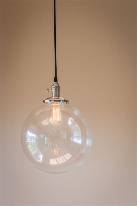 Hanging Glass Light Fixtures Pendant Light 12 Clear Glass Globe By Oldebricklighting