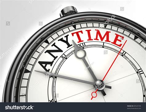 Anytime For anytime concept clock closeup on white stock illustration