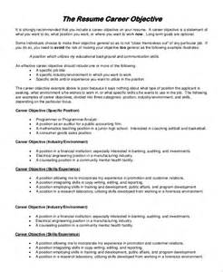 Objective In Resumes by General Resume Objective Sle 9 Exles In Pdf
