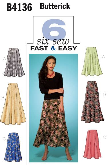 free pattern gored skirt butterick 4136 very easy six gore skirts sewing pattern