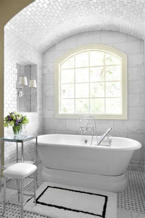 bathroom restoration ideas bathrooms alcove marble basketweave tiles floor polished nickel etagere stool tumbled marble
