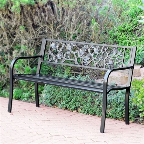 metal park bench features
