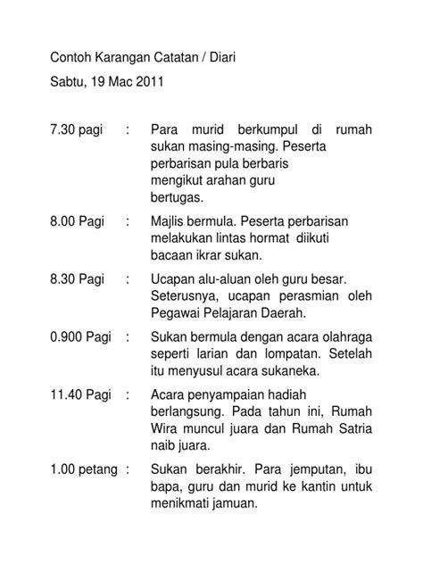 format karangan berita tahun 6 contoh karangan catatan