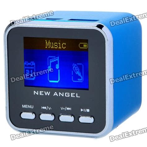 1 4 quot mp3 player speaker w alarm clock tf usb line in 3 5mm blue free shipping dealextreme