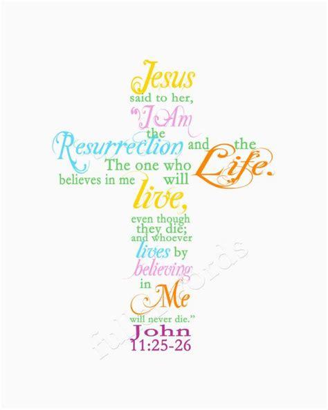 printable verse art easter spring scripture verse john 11 25 8x10 digital