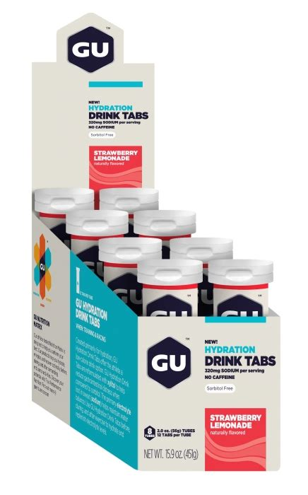 Gu Hydration Drink Tabs Strawberry Lemonade gu hydration drink tabs strawberry lemonade 12 servings per ubersports