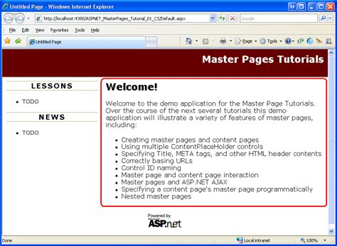 page layout program meaning creating a site wide layout using master pages c