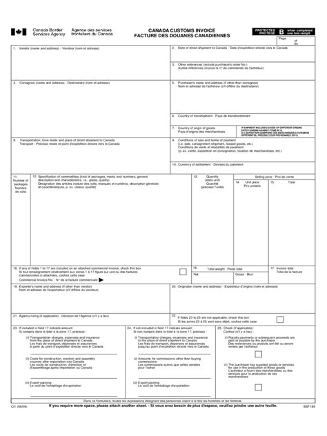 Canada Customs Invoice 2 Free Templates In Pdf Word Excel Download Customs Invoice Template