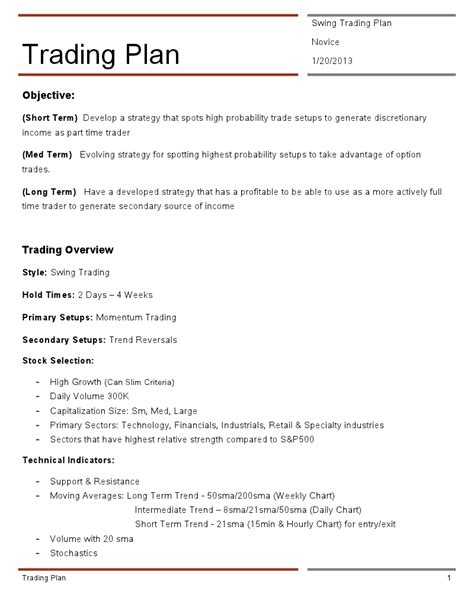 options trading plan template of trading anatomy of a trading plan