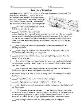 Declaration Of Independence Worksheet Answer Key
