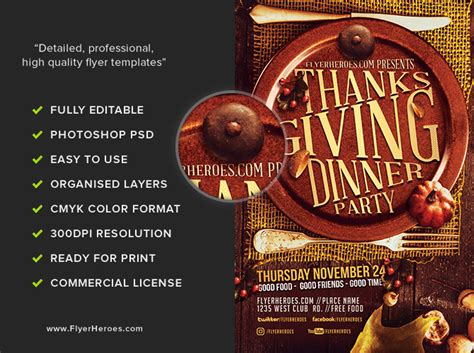 Thanksgiving Dinner Party Flyer Template Flyerheroes Dinner Flyer Template