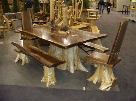 walnut dining table log furniture - Log Kitchen Table And Chairs