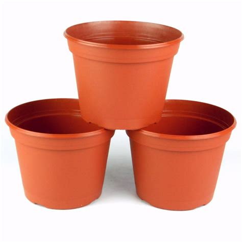 teku 8 in terra cotta plastic pot 3 pack