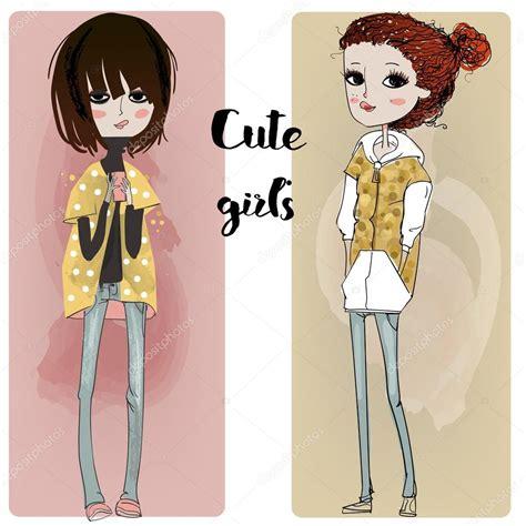 imagenes hipsters de chavas chicas de dibujos animados lindo hipster vector de stock