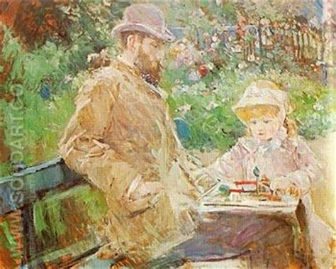 manet his life and berthe morisot eugene manet and his daughter at bougival 1881 reproduction oil painting