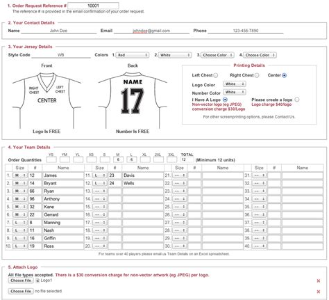 Football Uniform Roster Sheet Template Baseball Order Form Template
