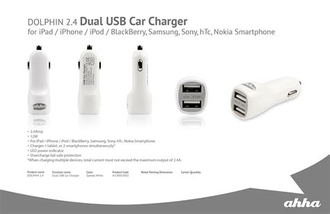 Ahha Kuga Single Usb Charger Original jual car charger ahha dolphin dual usb car charger 2 4a