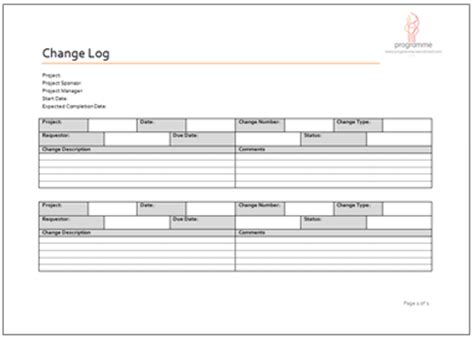 change log template programme project tools project delivery document