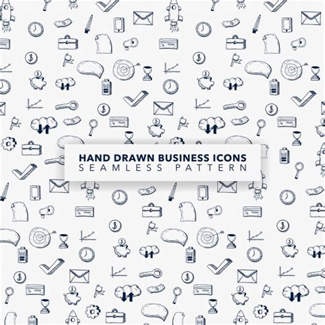 background pattern business hand drawn business icon pattern background vector free