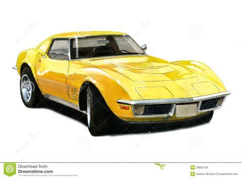 vintage corvette drawing 1971 chevrolet corvette stingray t top stock illustration