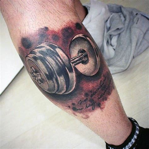 barbell tattoo 50 fitness tattoos for bodybuilding design ideas
