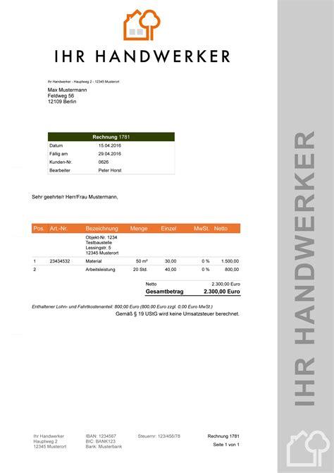 Musterrechnung Kleinunternehmer Handwerk Malersoftware Software F 252 R Maler Rechnungsprogramm
