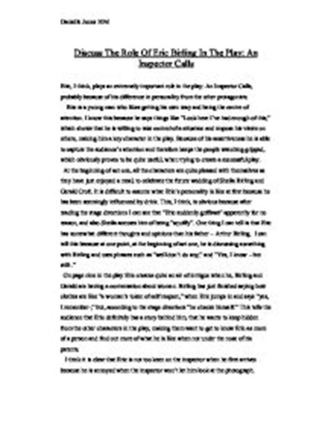 The Inspector Calls Essay by Mrs Birling An Inspector Calls Essay Writefiction581 Web Fc2