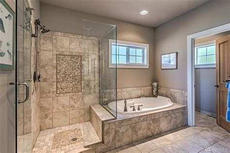 Master Bathroom Plans With Walk In Shower Gorgeous Master Bath Large Walk In Shower Glass Door Design 9 Apinfectologia