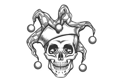 joker tattoo print the skull in joker cap by olena1983 thehungryjpeg com