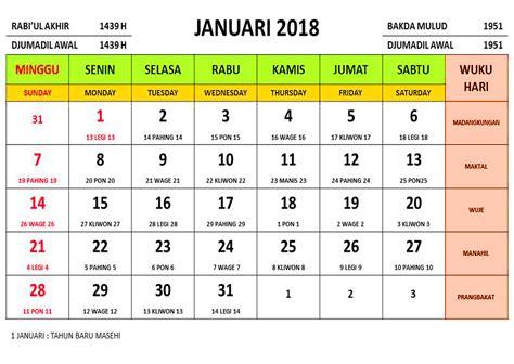 Kalender 2018 Dan Libur Nasional Kalender Tahun 2018 Masehi Islam Jawa Dan Libur Nasional