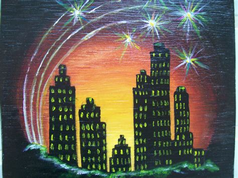 painting for new year painting new years in new york 4x4 original by