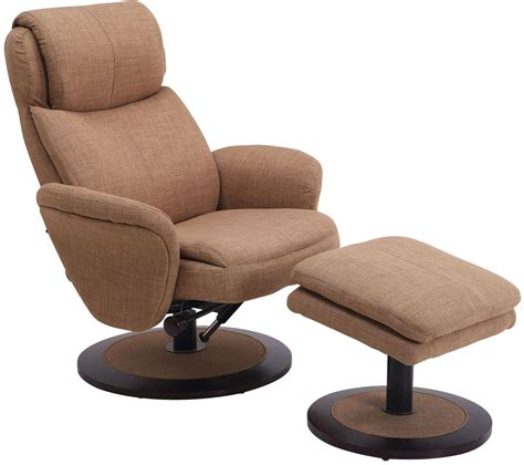 swivel recliner with ottoman denmark taupe fabric swivel recliner with ottoman from mac