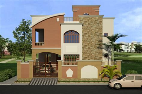 3d front elevation 2 kanal corner plot beautiful