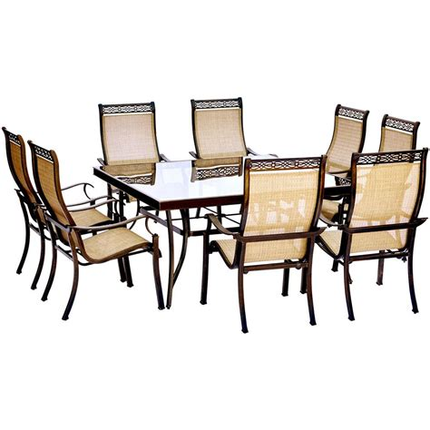 square dining table and 2 chairs home gift hanover monaco 9 aluminum outdoor dining set with square glass top table and contoured